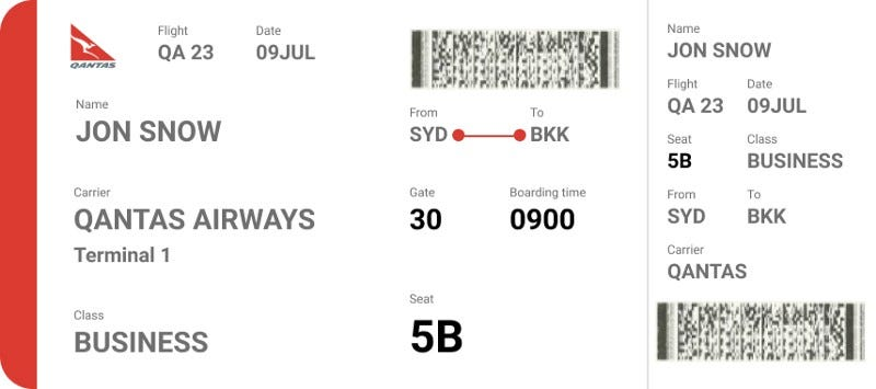 Boarding pass redesign.