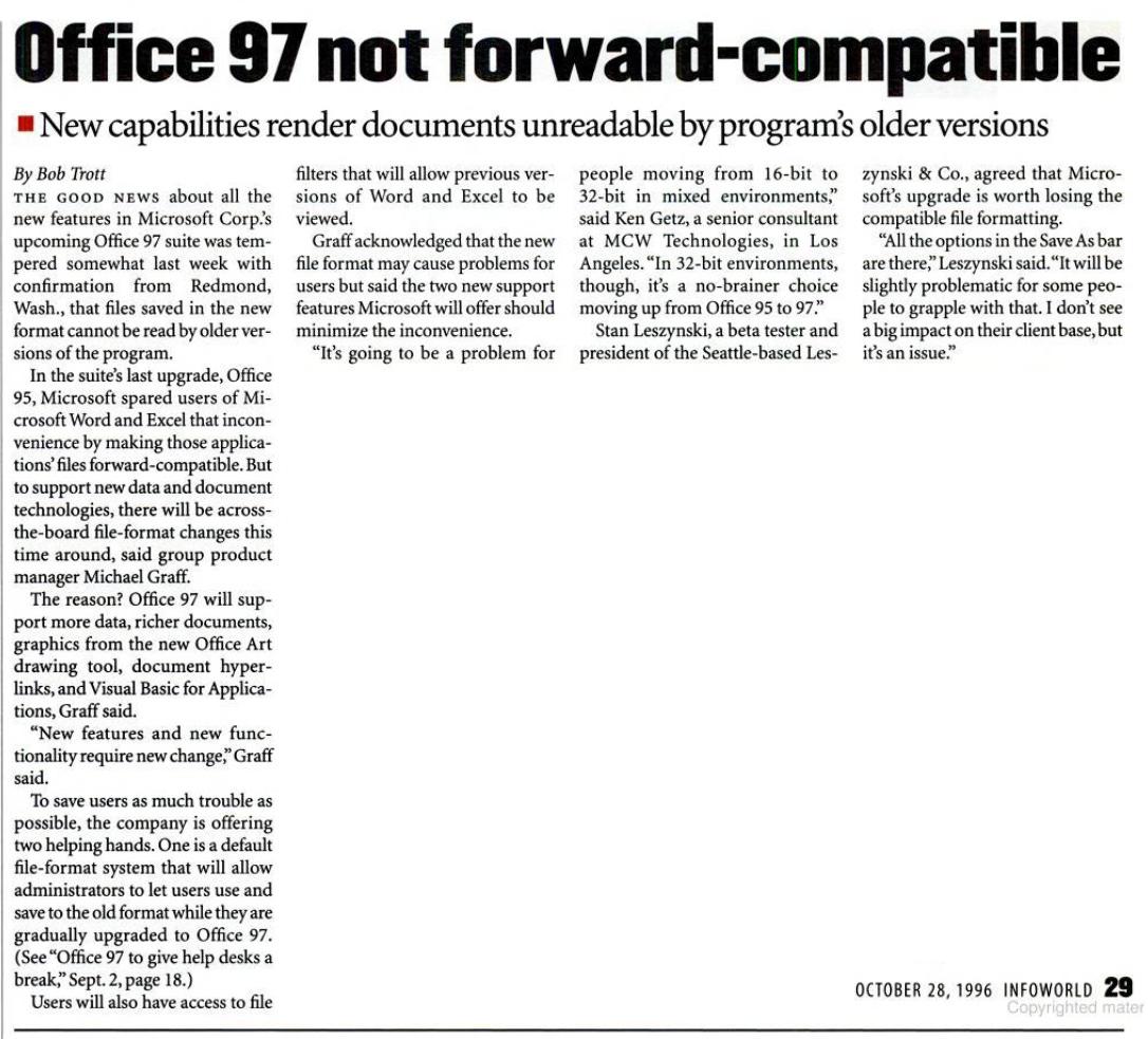 "InfoWorld headline ""Office 97 Not Forward Compatible"