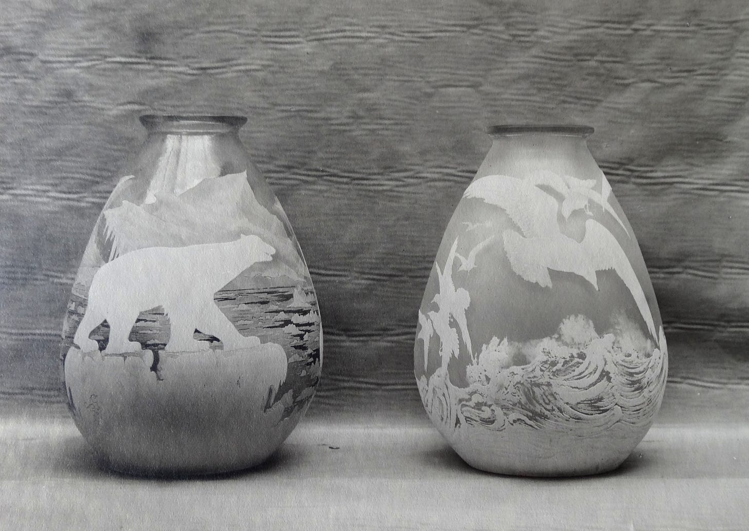 The Polar bears (with the Mk IX signature) and the Seagull vases from the Perdrizet sales album, early 1930s, private collection.