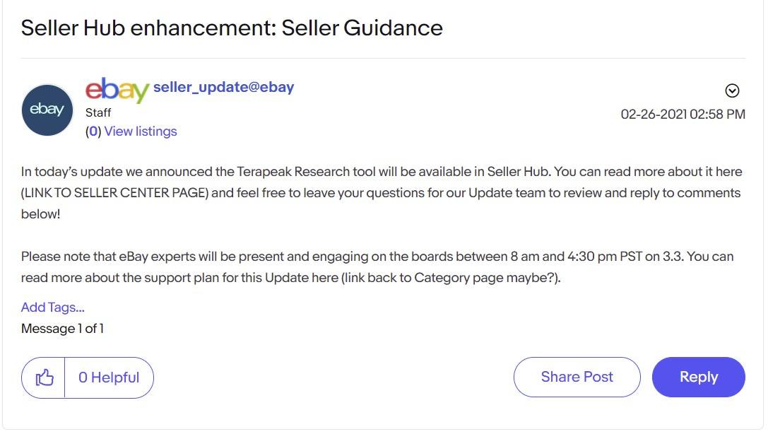 eBay Spring Update Seller Hub Enhancement
