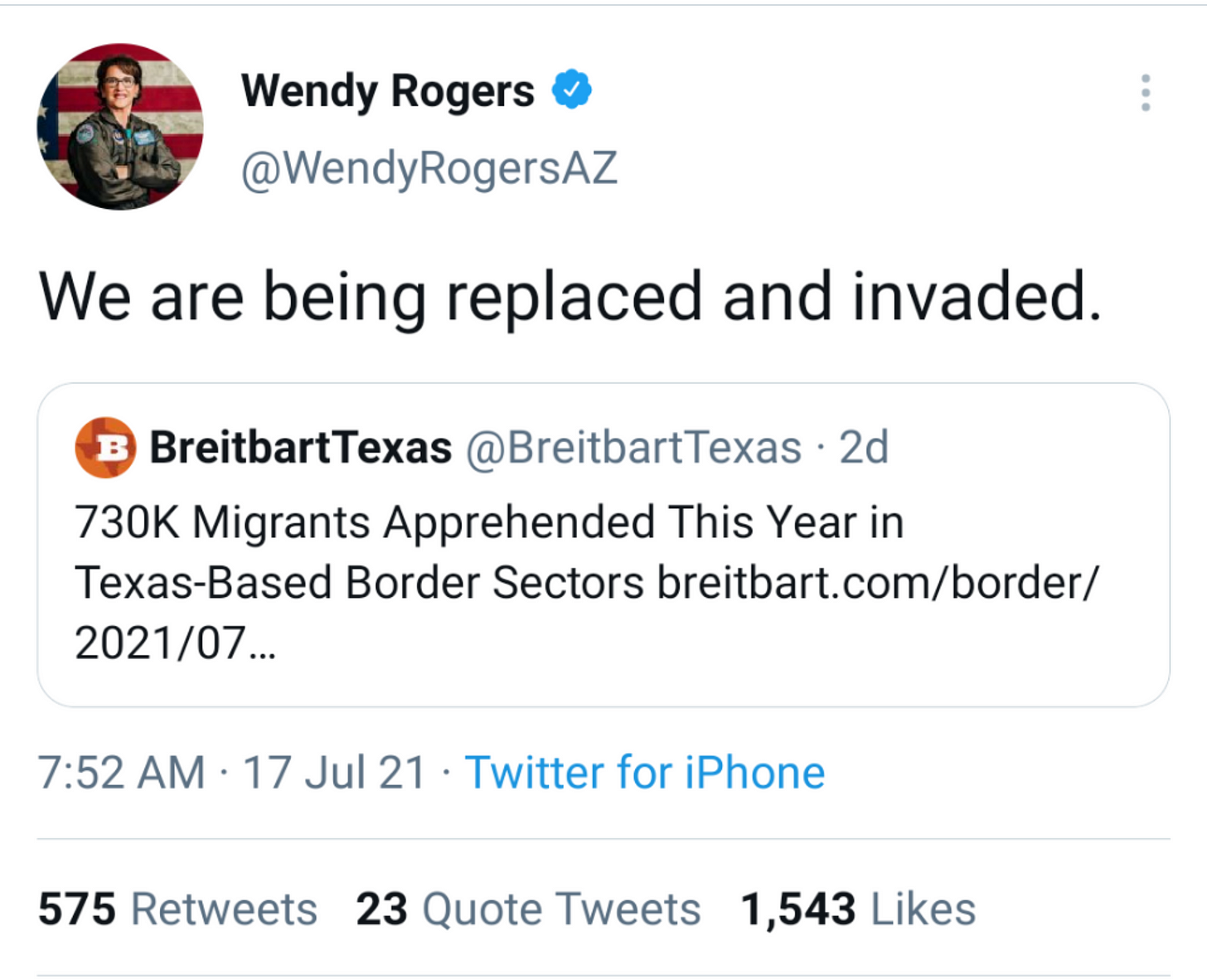 """Screenshot of tweet from Wendy Rogers that reads, """"We are being replaced and invaded."""""""