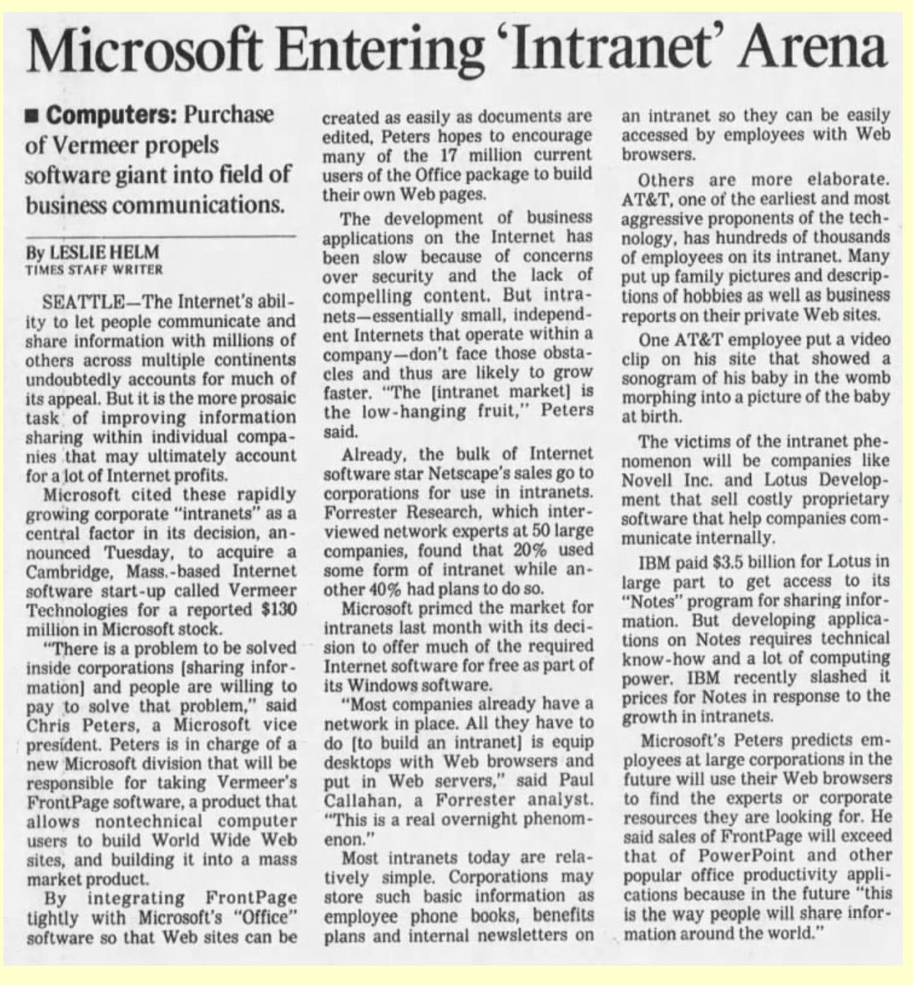 "Scanned news headline ""Microsoft Entering 'Intranet' Era"""