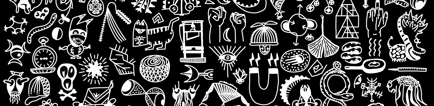 white chalk-like illustrations on a black background, including objects like a guillotine, magnet, and pocket watch, esoteric symbols, and weird monsters.