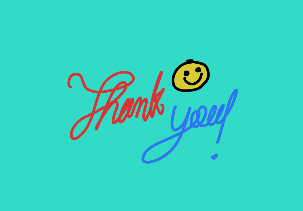 """Thank you"" handwritten on iPad Pro using Procreate."
