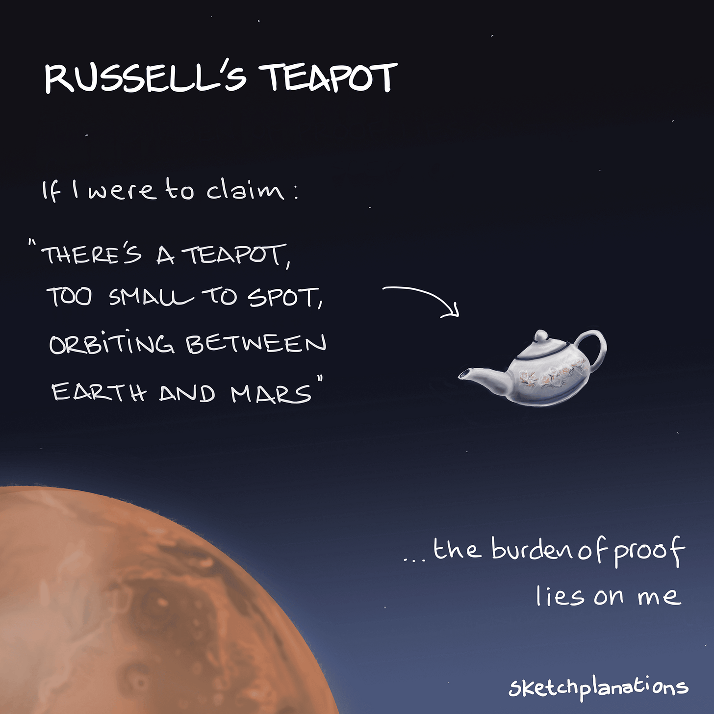 Russell's Teapot - Sketchplanations