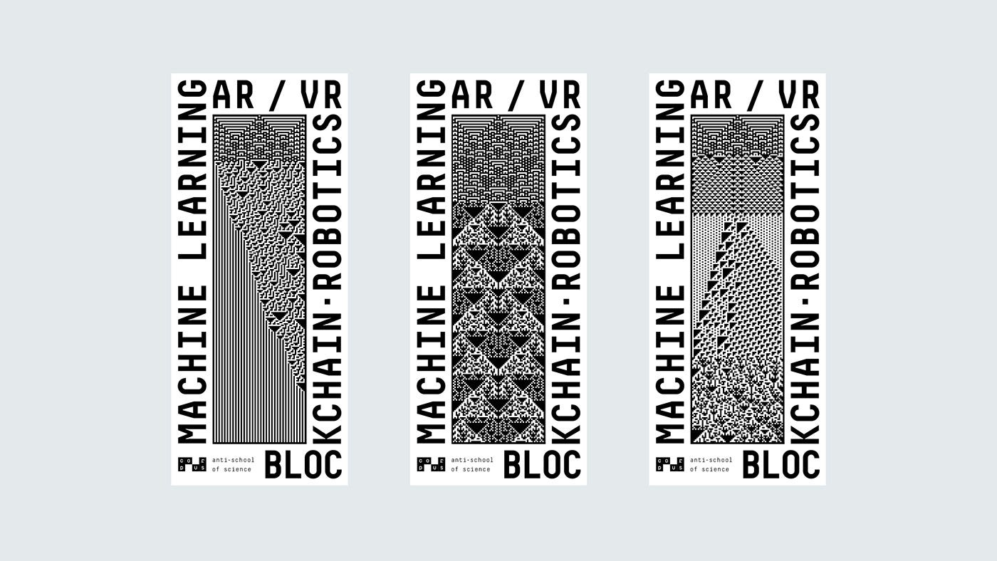 """Three Corpus posters contain the words """"Learning, AR/VR, Robotics, Blockchain"""", written around three versions of a generated pattern."""
