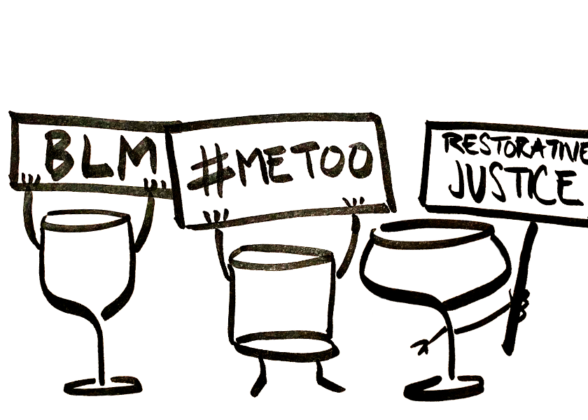 Wine and cocktail glasses protesting with BLM and #MeToo posters