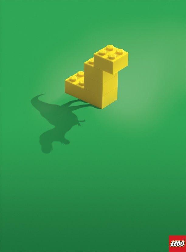 Three-piece LEGO dinosaur