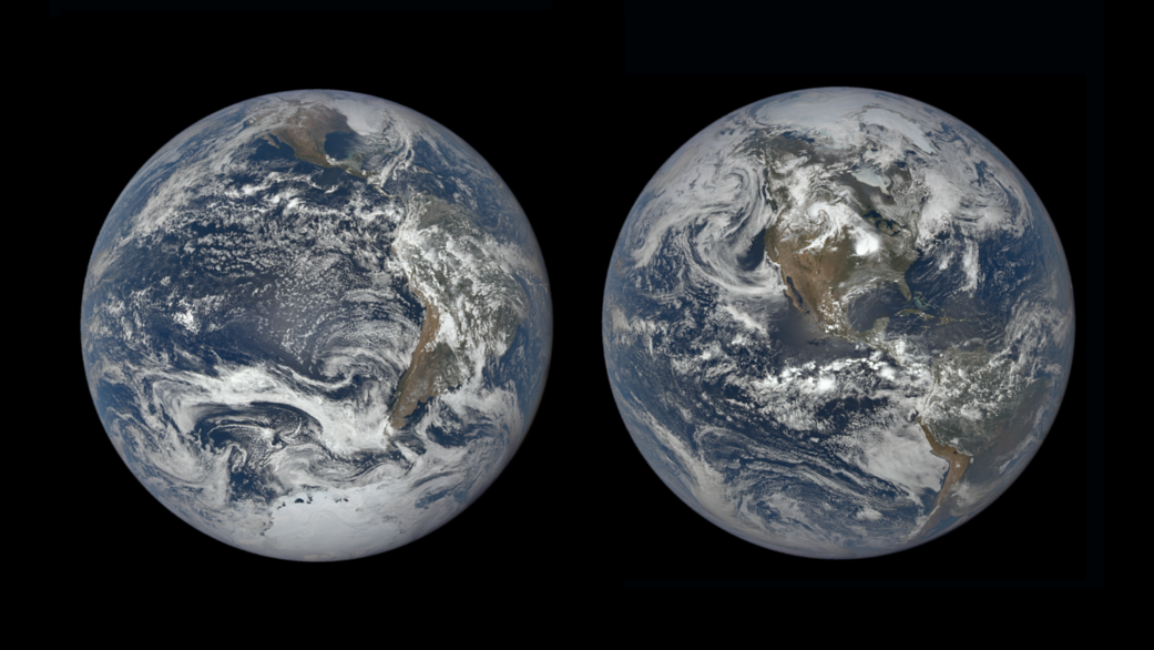 Two views of Earth show the difference in its tilt — on the left, the northern hemisphere is tilted away from the Sun, and on the right, it's tilted towards the Sun.