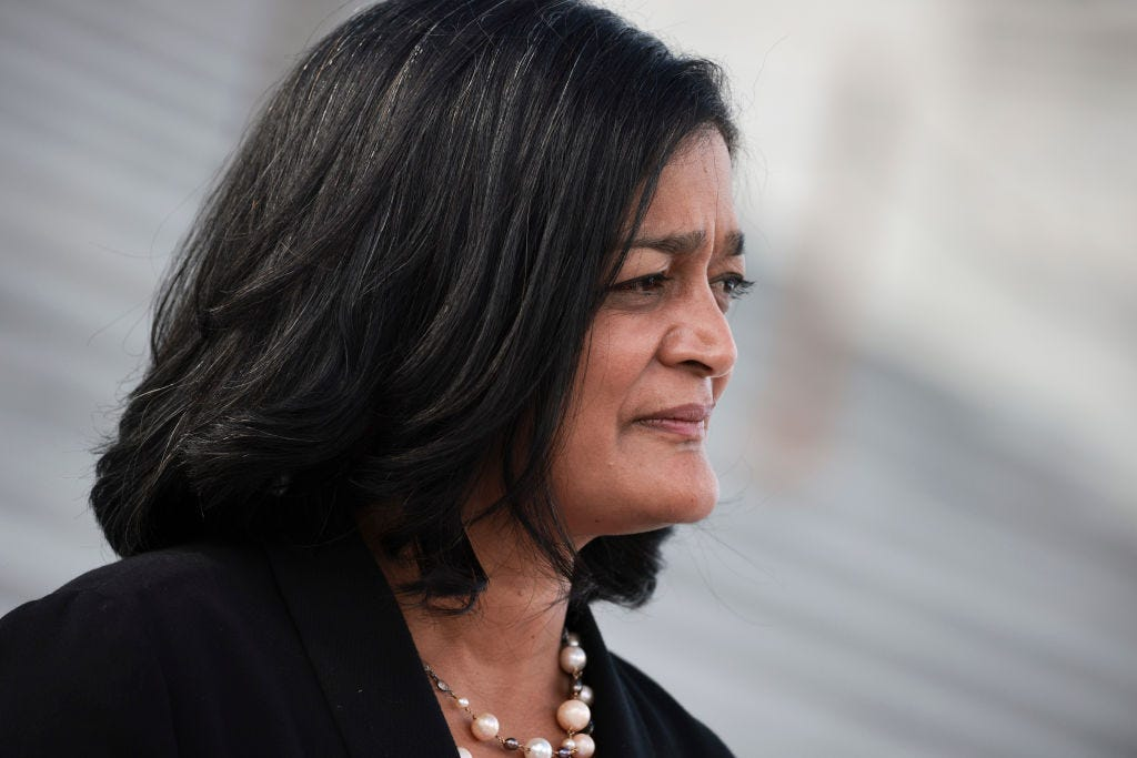 WASHINGTON, DC - SEPTEMBER 23: Rep. Pramila Jayapal (D-WA) speaks to reporters outside of the U.S. Capitol on September 23, 2021 in Washington, DC. Lawmakers continue to work towards coming to an agreement to pass legislation to fund the government by the new fiscal year deadline on September 30th. (Photo by Anna Moneymaker/Getty Images)