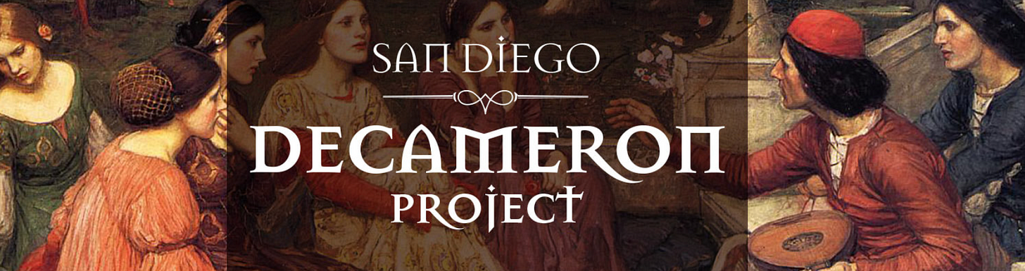 painting showing several Renaissance-era looking men and women sitting in a courtyard with overlaying text that says San Diego Decameron Project