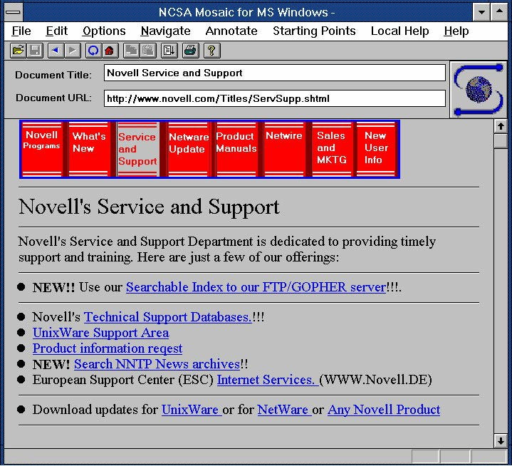 NCSA Mosaic for Windows showing Netware documentation on the novell web site.