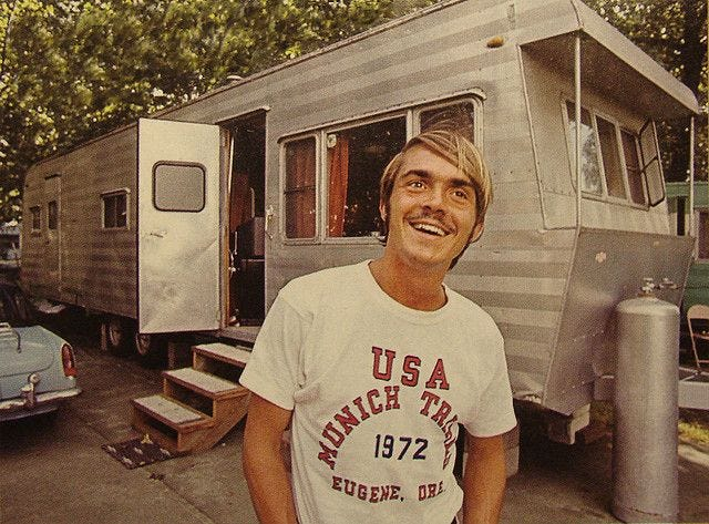 Awesome. Steve Prefontaine in front of his trailer in 1972. | Steve  prefontaine, Running inspiration, Running motivation