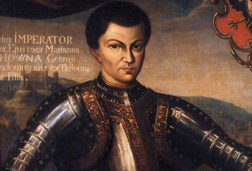 a painting of False Dmitri I looking grumpy