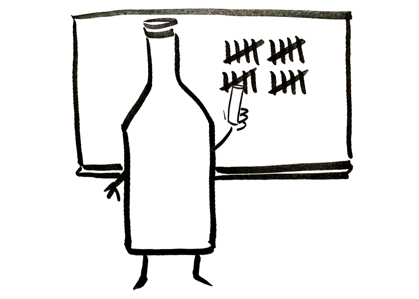 An anthropomorphic wine bottle tallying the number 20 on a chalkboard