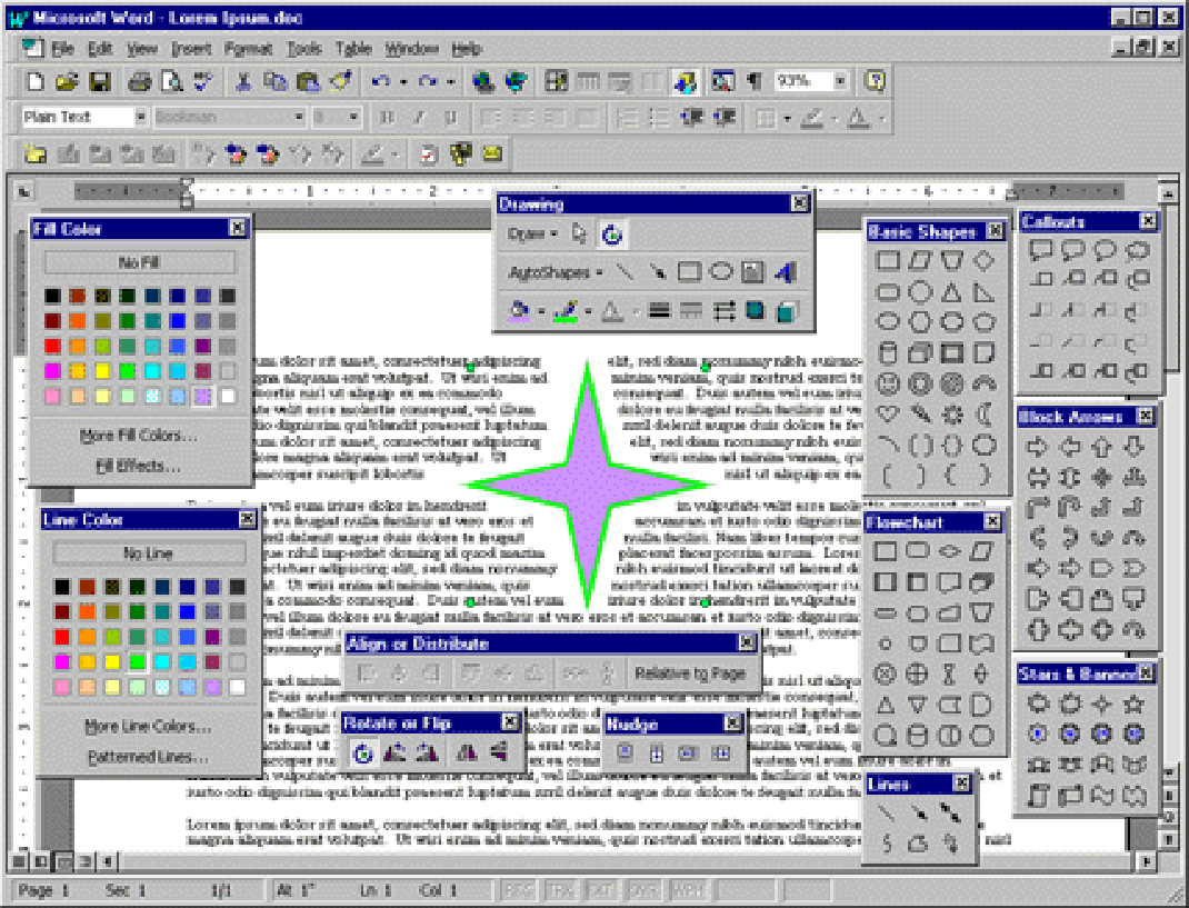 Screen shot of Office 97 showing all the Office Art command bars open.