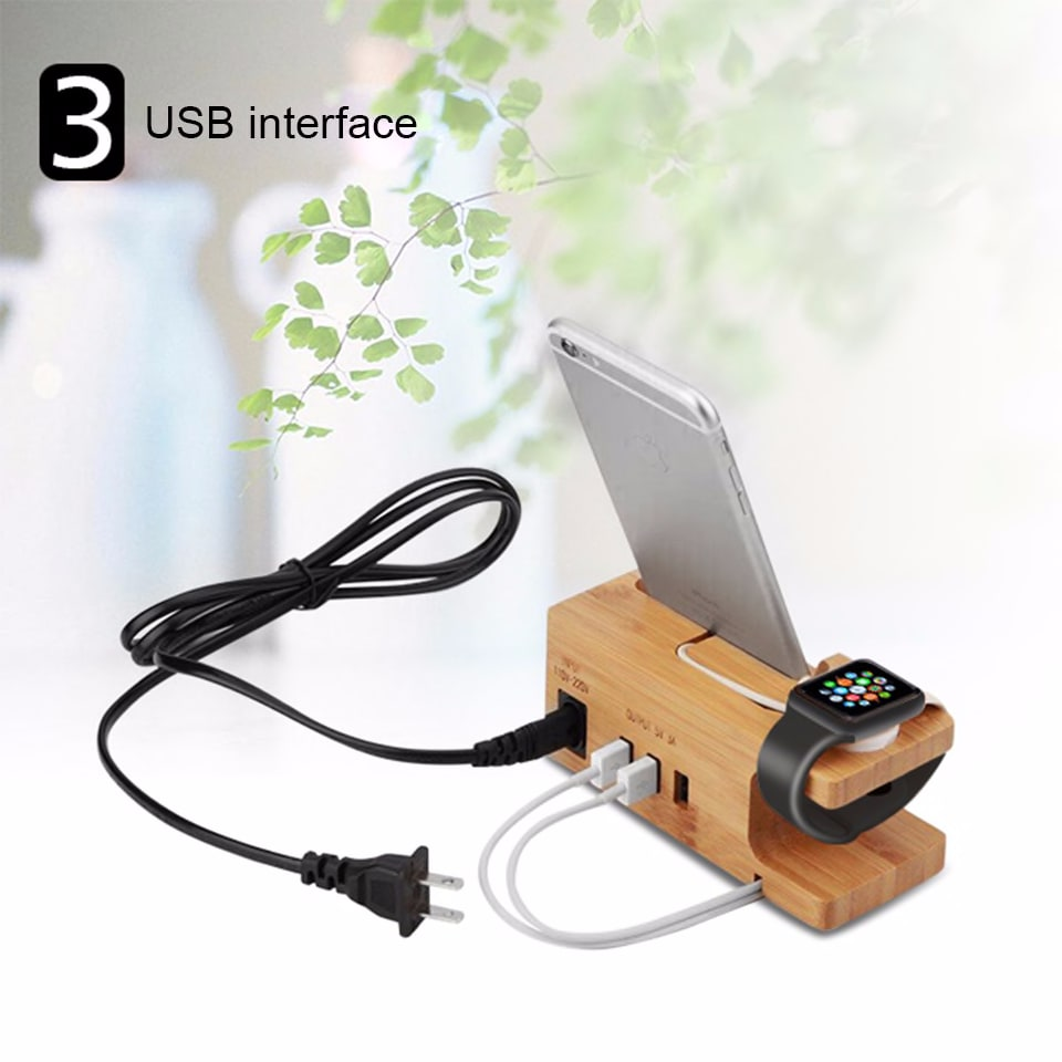 [Built-in 3-Port USB charger&Apple/Android USB Charger Cable] iCozzier 3-Port USB Bamboo Charging Station with Apple Watch Stand