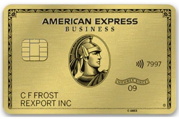 A front view of the American Express Business Gold credit card.