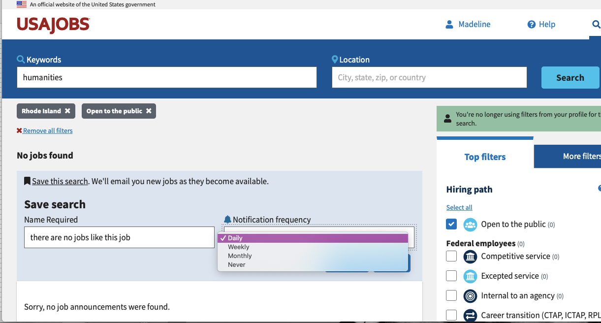 Screengrab showing how to create a location-specific saved search on USAJOBS. Enter search terms and set filters, then select e-mail frequency.