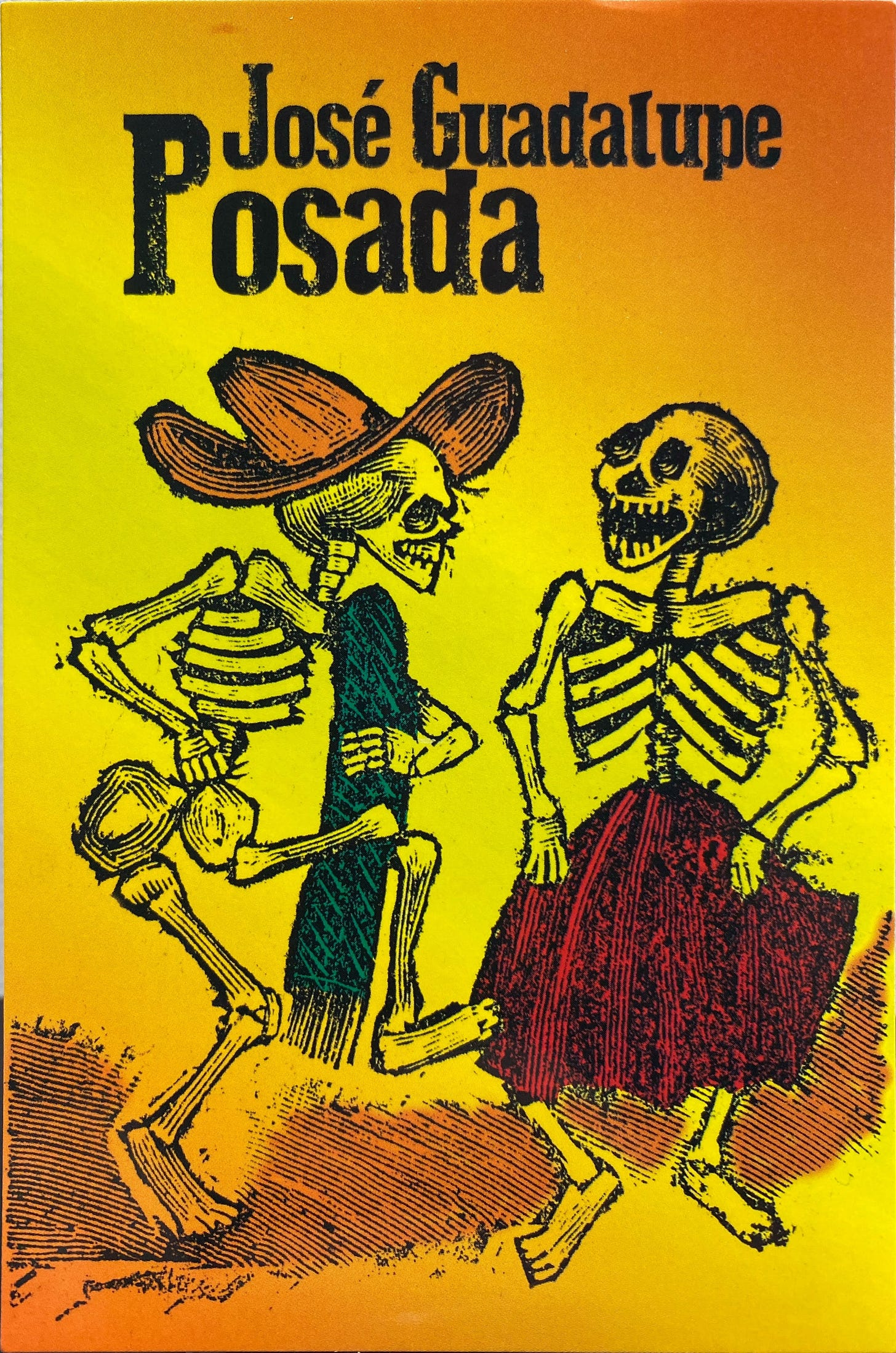 Text on top: José Guadalupe Posada. Two skeletons, one with a hat and a sarape, another with a skirt, appear to be dancing, facing each other.