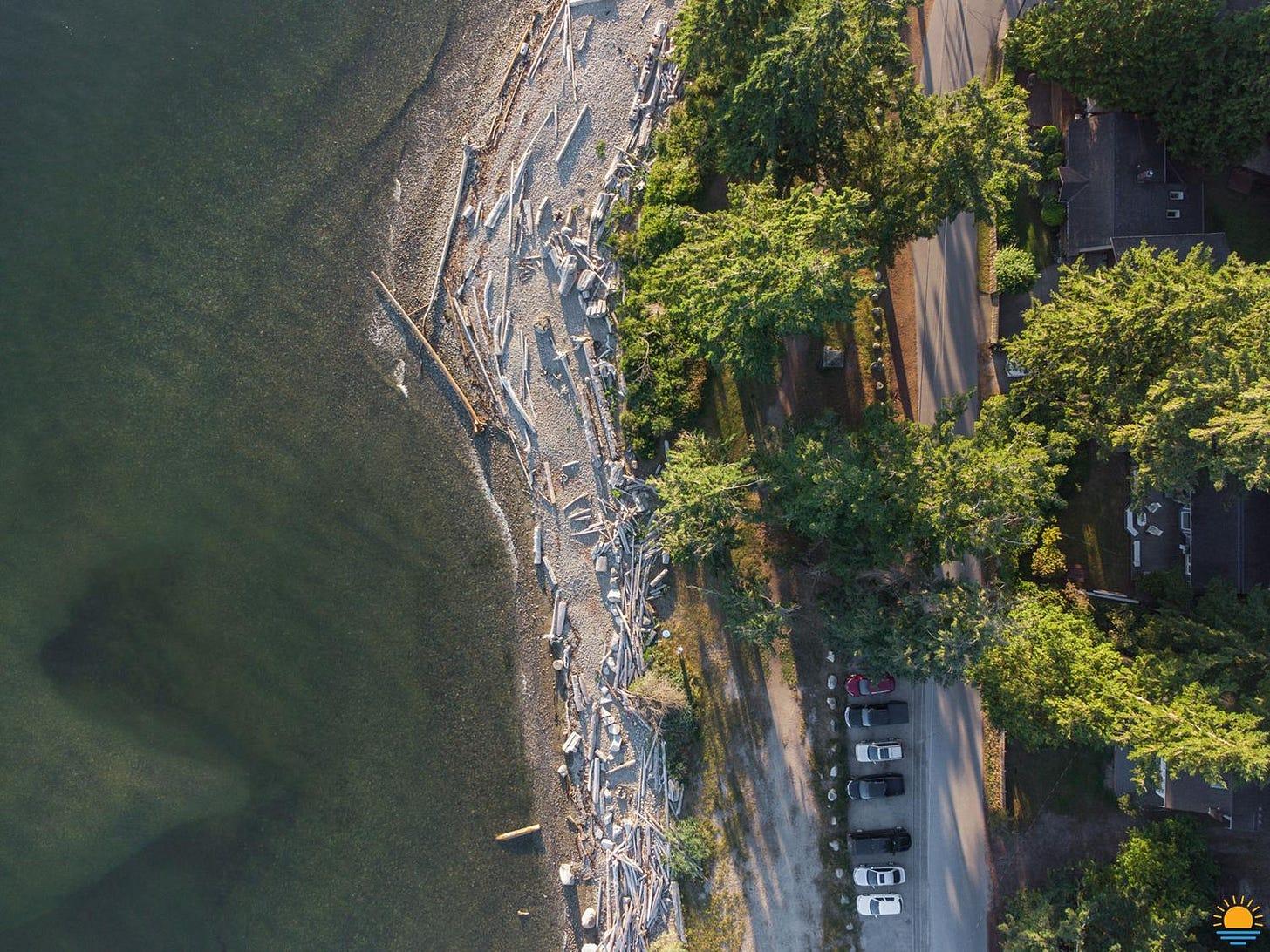 Drone shot from above Ocean Beach Esplanade.