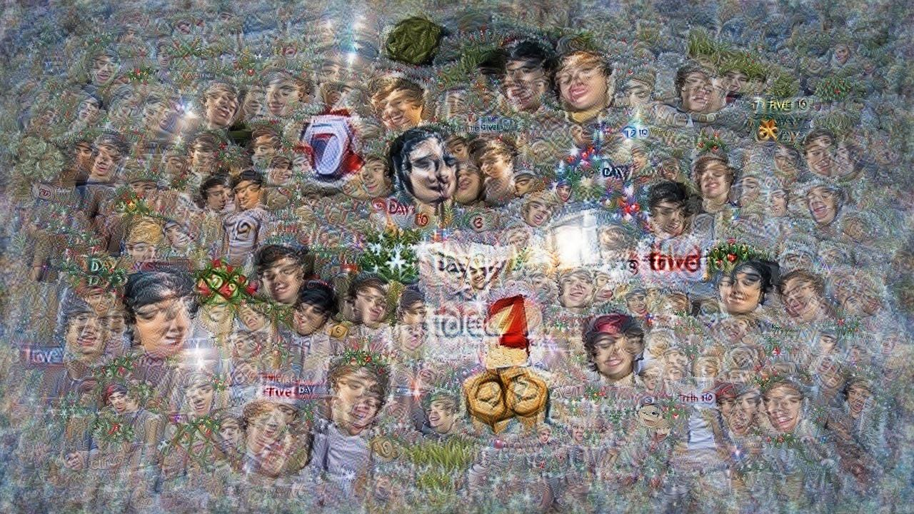 Many blissed-out faces smeared across a vague background with occasional christmas tree patches