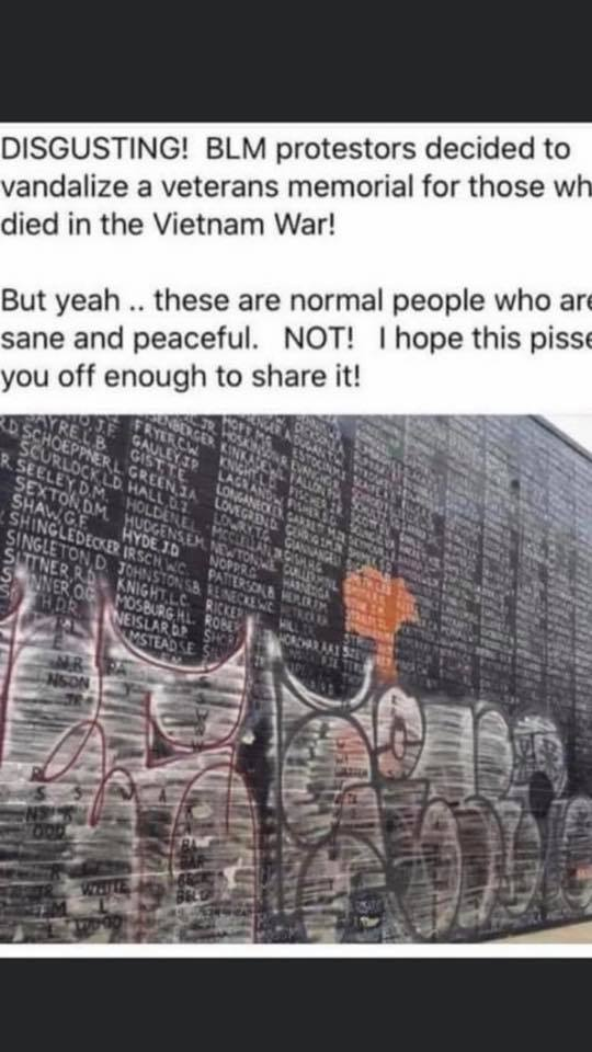 Did Black Lives Matter Protesters Deface A Vietnam War Memorial