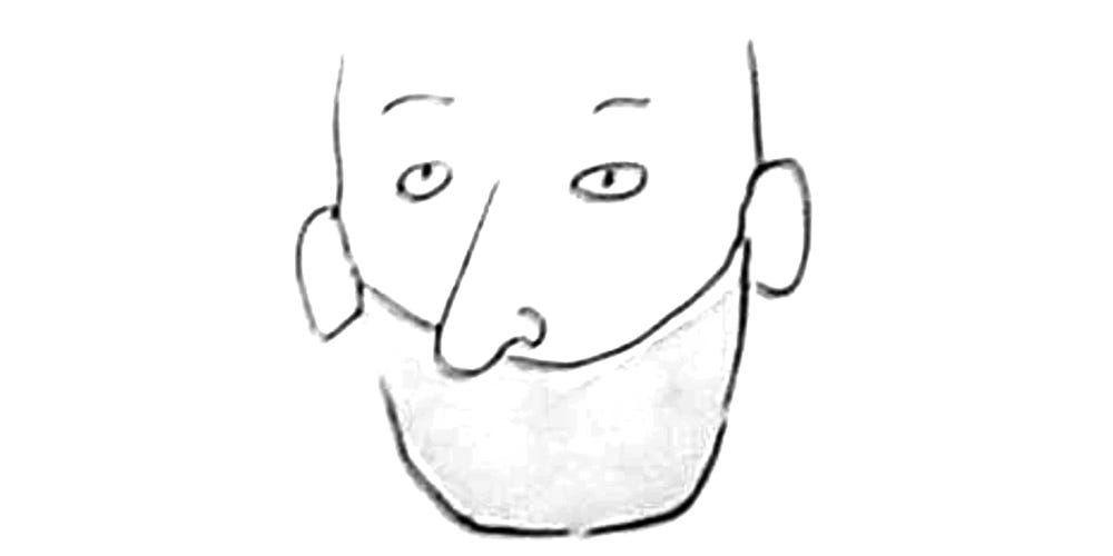 Sketches of man with nose sticking out over face mask