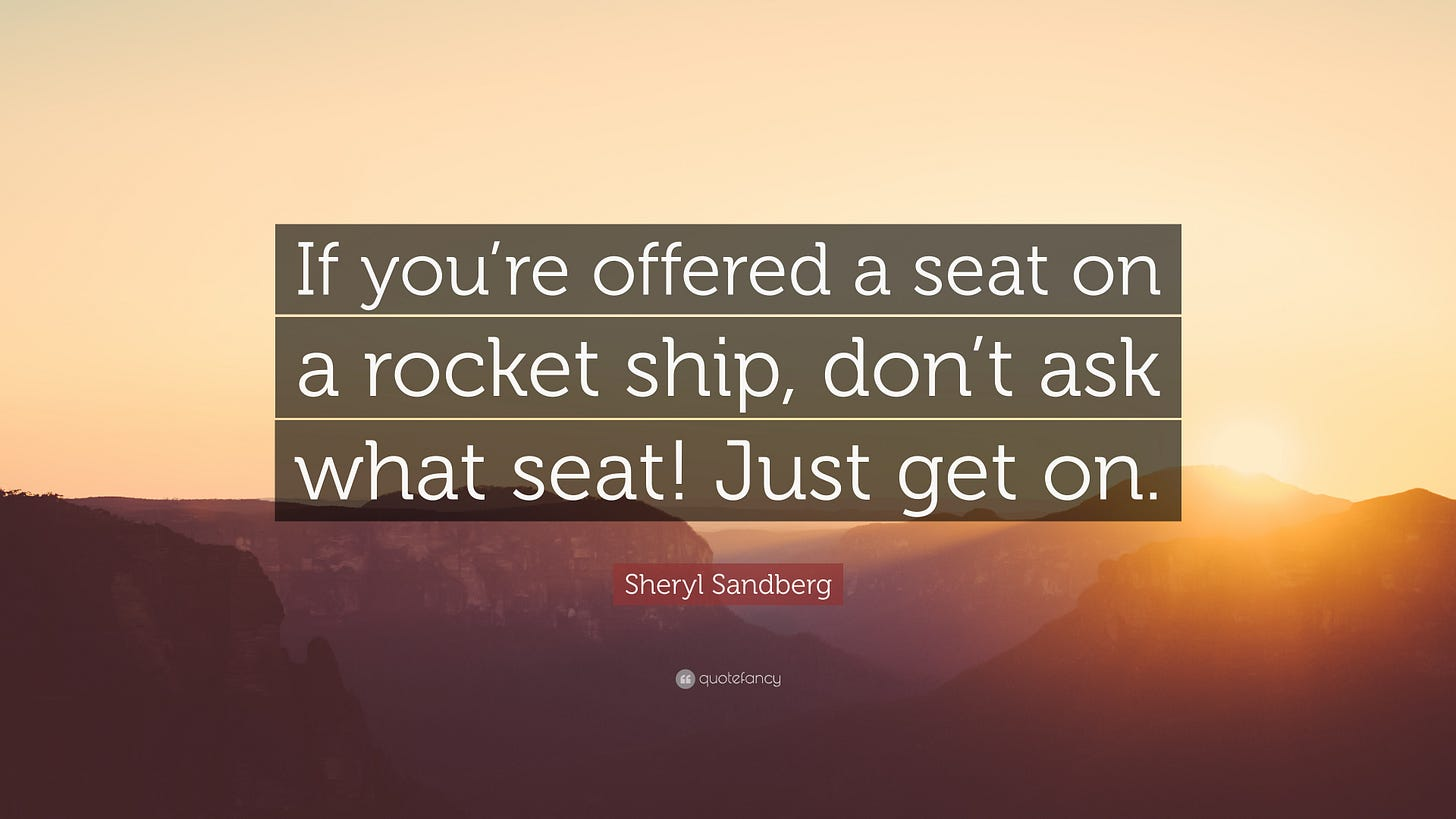 """Sheryl Sandberg Quote: """"If you're offered a seat on a rocket ship, don't  ask what seat! Just get on."""" (12 wallpapers) - Quotefancy"""