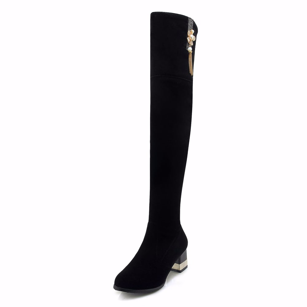 1430588075 Plus Size 34 43 Fashion 2020 New Hot Women Boots Autumn Winter Ladies Boot Shoes Over The Knee Thigh High Black Suede Long Boots Shoes Women S Shoes