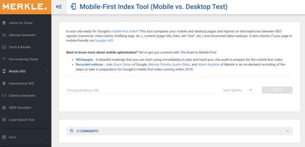 Herramienta para ver nuestro Mobile First Index readiness en Merkle