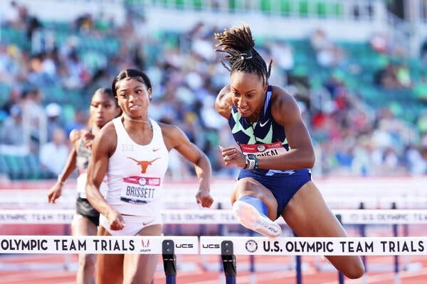 Brianna McNeal, right, competing at the U.S. Olympic track and field trials last month in Eugene, Ore.