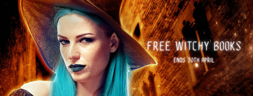 banner depicts witch with turquoise hair and lipstick