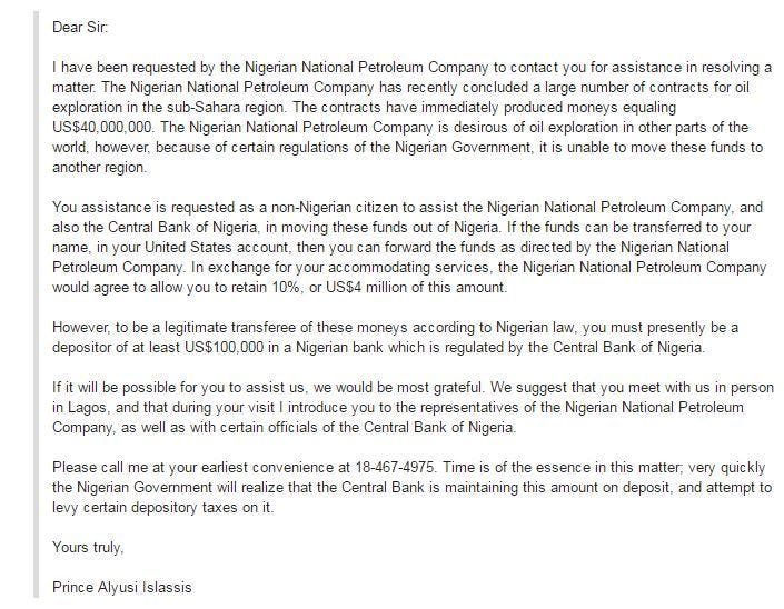An example of a Nigerian prince scam email