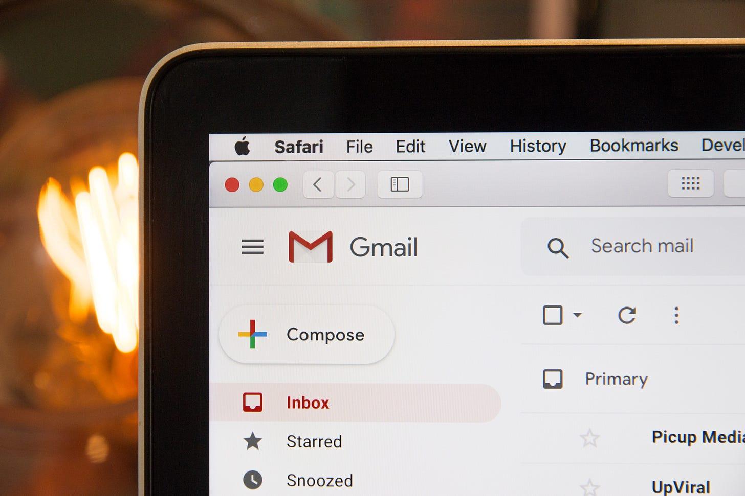 Gmail open on a laptop browser. Stephen Phillips / Unsplash