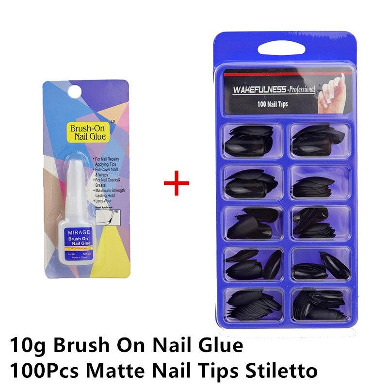 Best Matte Nails Glue 1 Brush-On Nail Glue Liquid Set Stiletto Shape Nail Press ON Nail Manicure Black Matte faux Ongles 100pcs