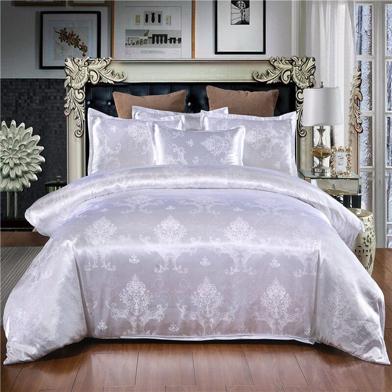 Luxury Jacquard Duvet Quilt Cover With Pillowcases Bedding Set Double King Size