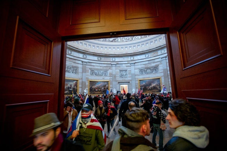Rioters inside the Capitol in Washington.