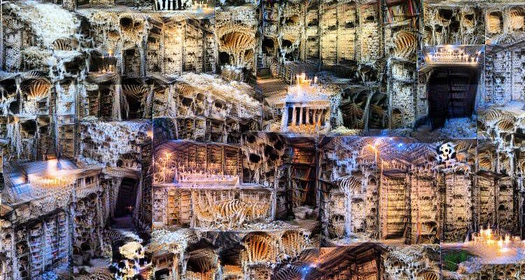 Image is an intricate tangle of bone-covered bookcases and piles of skulls.