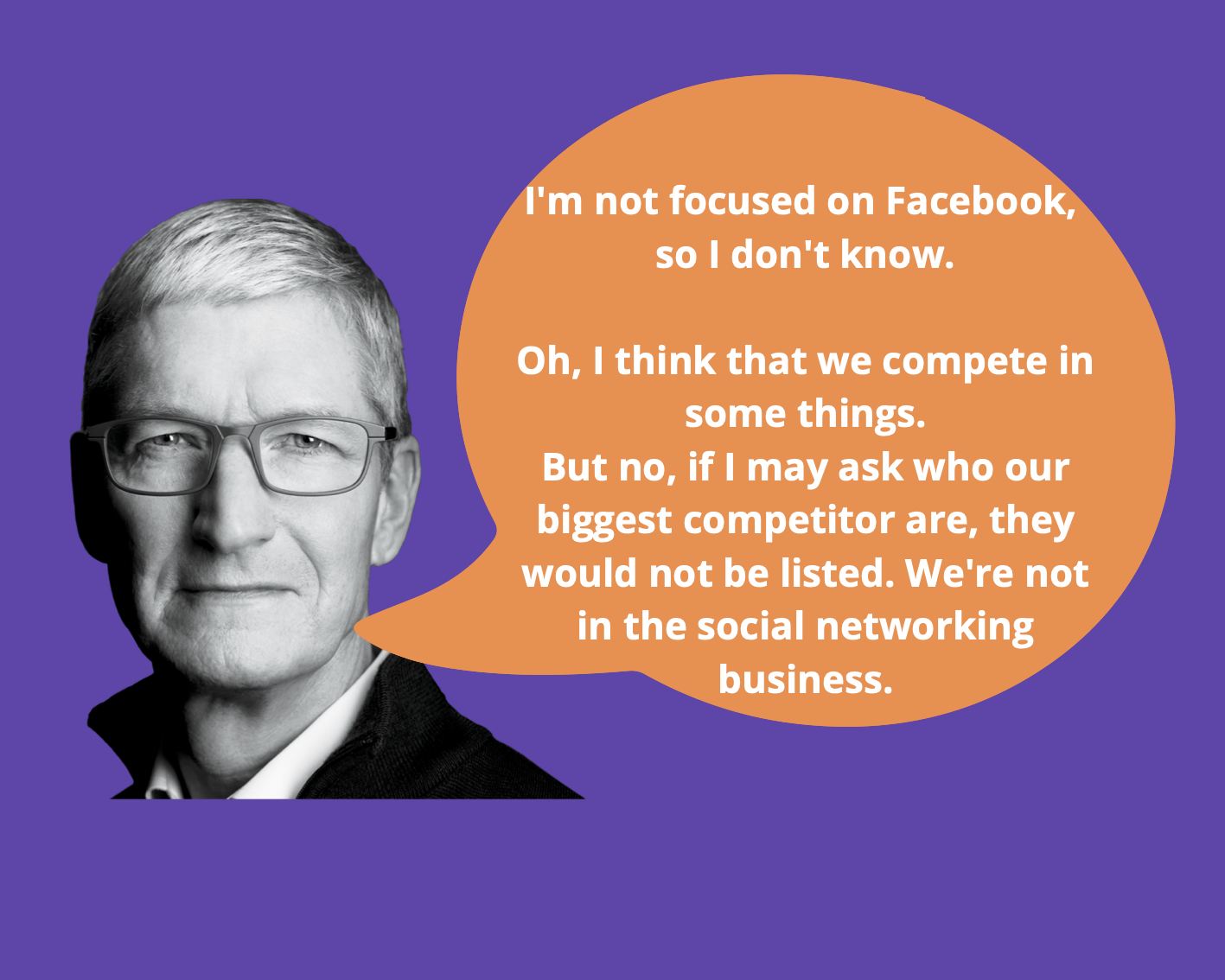 Tim Cook doesn't consider Facebook a competitor to Apple