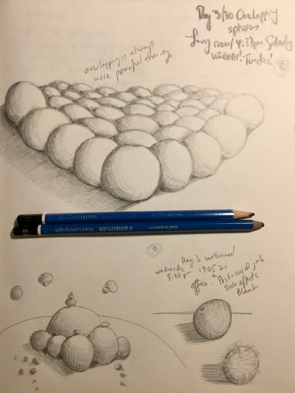 Pencil drawing of spheres with cross hatching