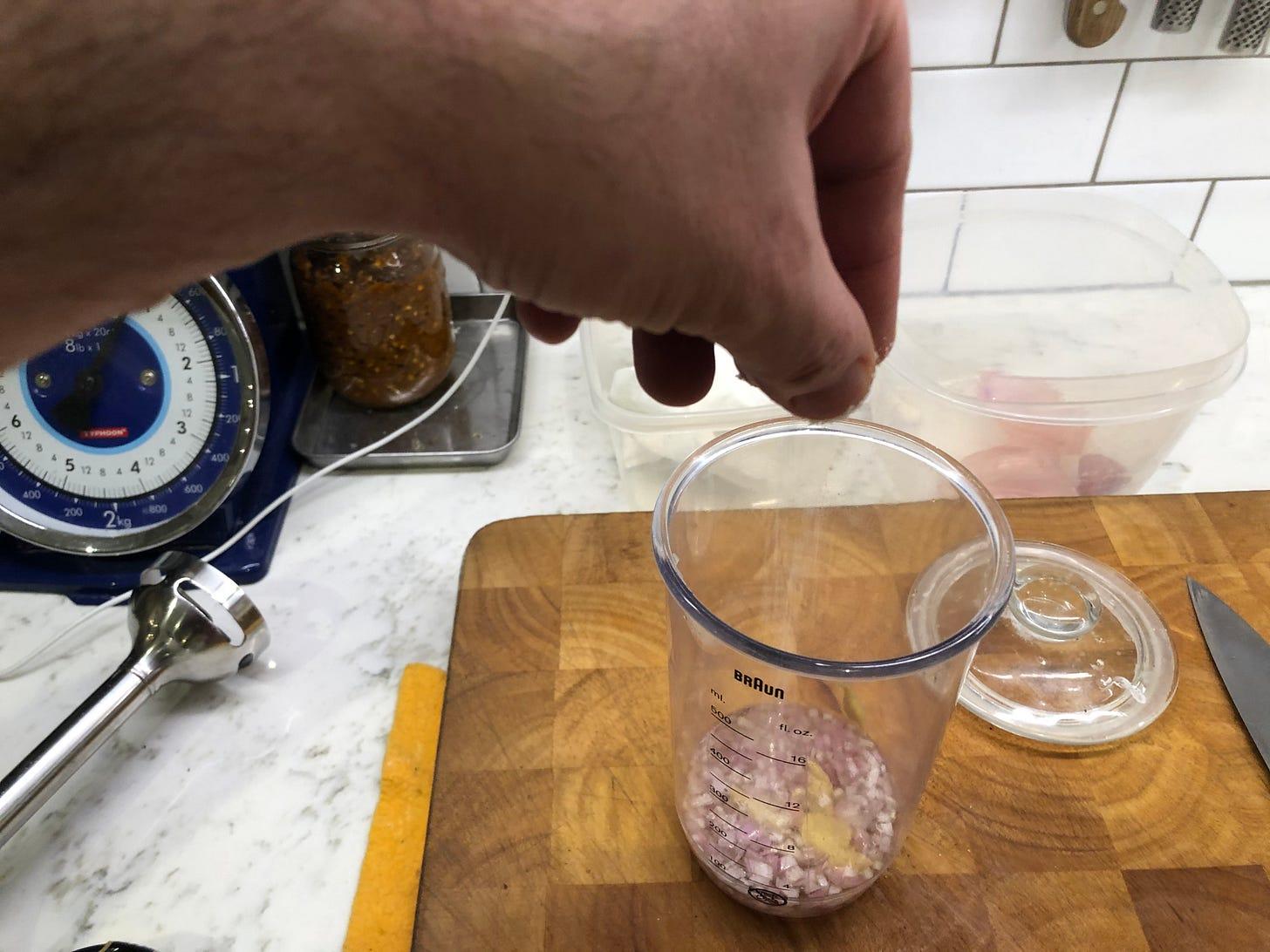 Salt added to vinegar mixture