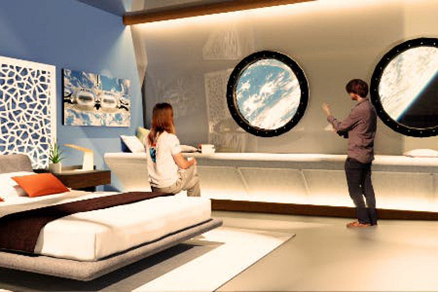 Picture of an imaginary space hotel room