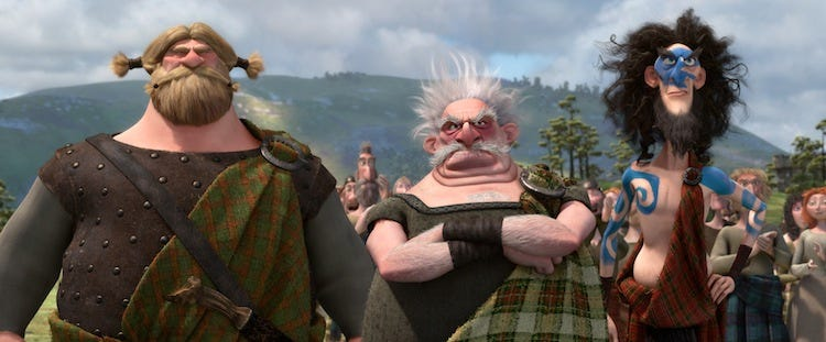 Lord MacGuffin (Kevin McKidd), Lord Dingwall (Robbie Coltrane) and Lord Macintosh (Craig Ferguson) ©Disney/Pixar