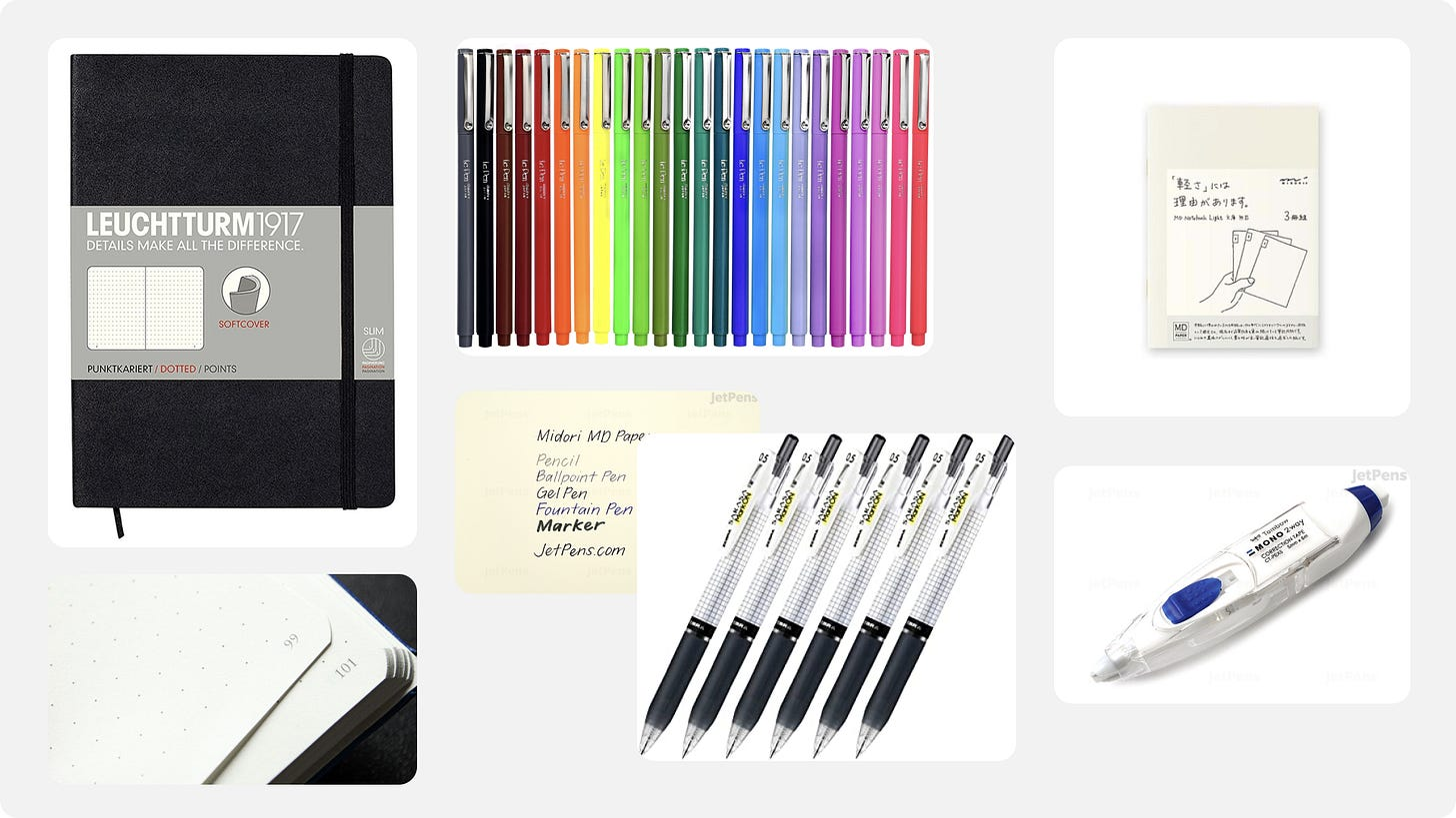 Collage of pens, stationary, and white-out.