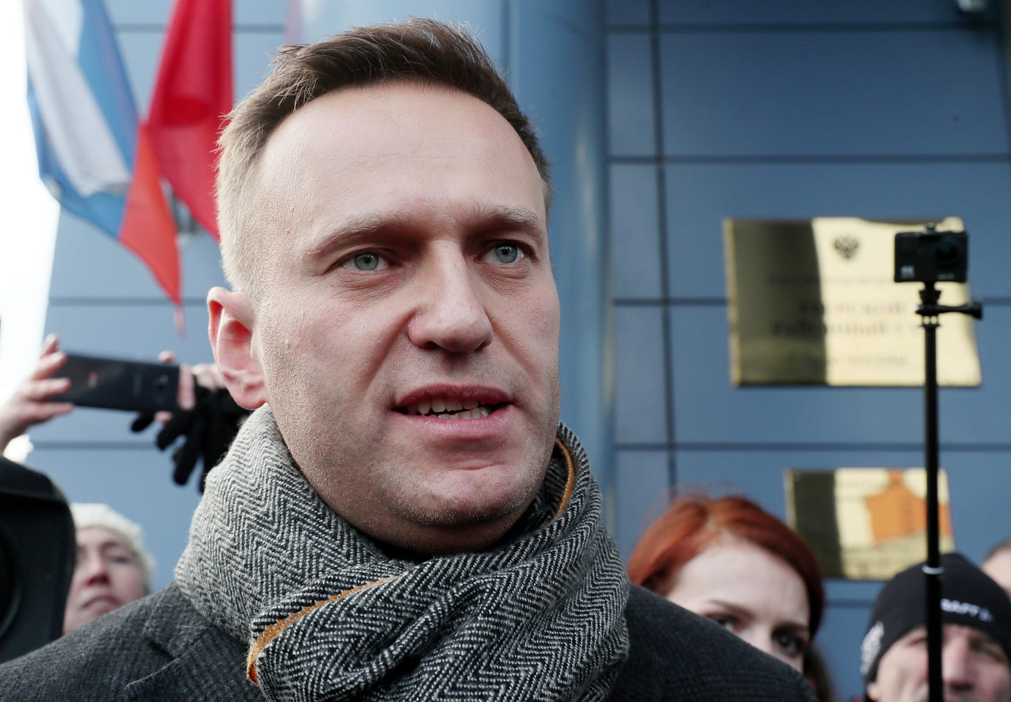 MOSCOW, RUSSIA - DECEMBER 6, 2019: Opposition activist Alexei Navalny is pictured outside Moscow's Meshchansky District court where a sentincing hearing for opposition demonstrator Vladimir Yemelyanov (not pictured) took place; Yemelyanov, who took part in an unsanctioned opposition rally in central Moscow on 27 July 2019, is charged with use of violence against a representative of the power; according to the investigation, during the opposition rally Yemelyanov grabbed an OMON (riot police) officer by the back of his bulletproof vest and pulled him. Vladimir Gerdo/TASS (Photo by Vladimir Gerdo\TASS via Getty Images)