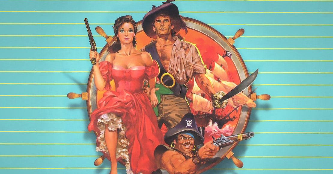 Part of the cover art for Plundered Hearts, showing a woman in a flowery red gown with a long pistol in front of a dashing pirate captain.