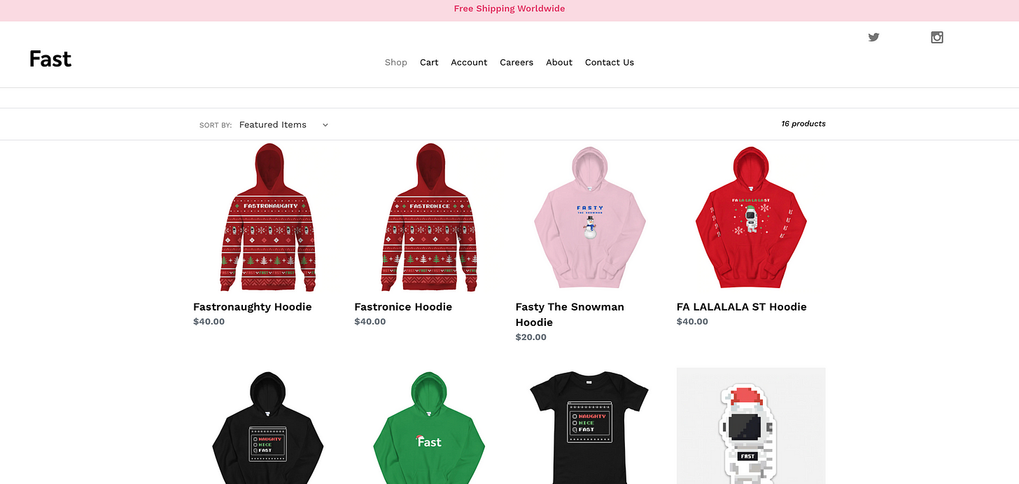 Homepage of the Fast e-commerce store.