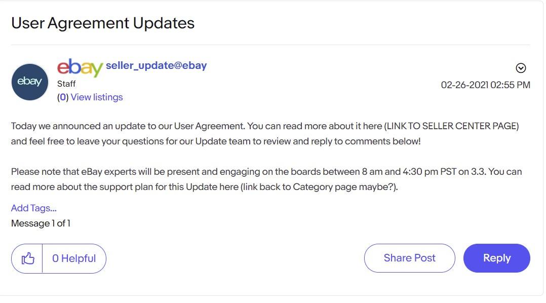 eBay Spring Seller Update User Agreement