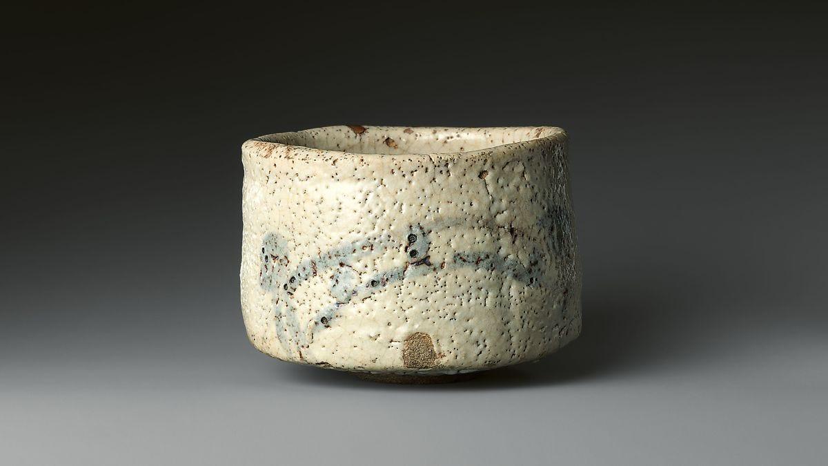 "Shino Teabowl with Bridge and House, known as ""Bridge of the Gods"" (Shinkyō), Glazed stoneware with design painted in iron oxide (Mino ware, Shino type), Japan"